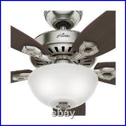 132cm 52 indoor ceiling fan with bowl light kit Hunter Builder Deluxe Chrome