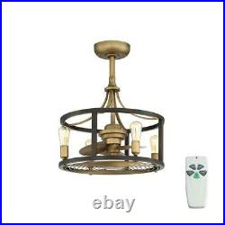 21.5 in Vintage Brass Dual Mount Ceiling Fan with Light Kit and Remote Control