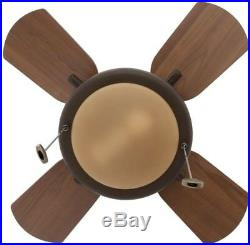 24 Short Blades Indoor Home Room Oil-Rubbed Ceiling Fan with Light Kit Bronze