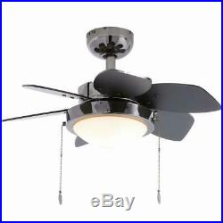 24 in. Indoor Ceiling Fans Light Kit Remote Control Small Black Reversible Blade