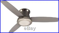 3-Blade 52 Ceiling Fan with Light Kit and Remote Brushed Nickel Flush Mount