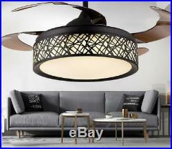 3-Color 42 Ceiling Fan Lamp LED Kit Retractable Blades Bird Nest Chandelier