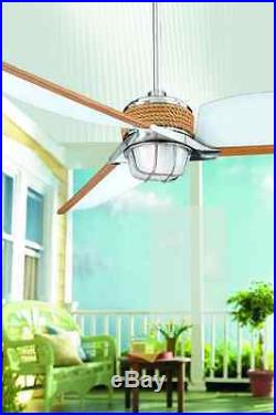 3 Speed Outdoor/Indoor Ceiling Fan with Modern Damp Rated Dome Light Kit & Remote