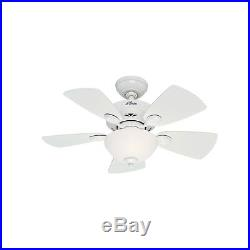 34 Hunter Casual Small Room Ceiling Fan Snow White Finish with Light Kit