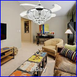 36 Invisible Crystal Ceiling Fan Retractable Blades Dimmable Led Fan Light Kit