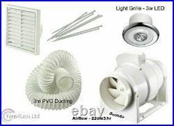 4 Bathroom Shower Fan LIGHT Kit Loft Ceiling Mounted Extractor Duct Timer Std