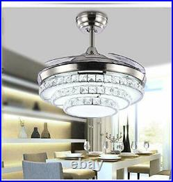42'' Crystal Invisible Fan Ceiling Light LED Light Kit Remote Control Chandelier