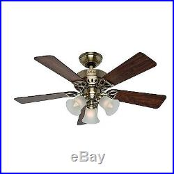 42 Hunter Antique Brass Ceiling Fan with Light Kit 3 Position Mount- Ships Free