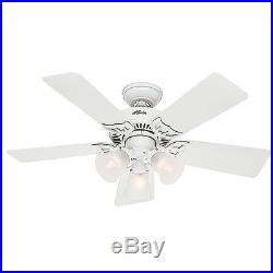 42 Hunter Custom Builder Ceiling Fan White with Clear Frosted Light Kit