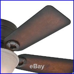 42 Hunter Low-Profile Ceiling Fan in Onyx Bengal with Tea Stain Bowl Light Kit