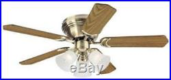 42 Indoor Ceiling Fan with Light Kit Antique Brass Finish with Reversible Oak
