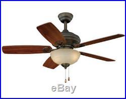 42 Oil Rubbed Bronze 2 Light Ceiling Fan with Light Kit