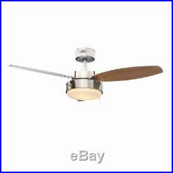 42 in. Brushed Nickel Ceiling Fan Frosted Glass Light Kit 3-Blade Reversible