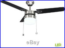 42 in. Ceiling Fan LED Indoor Brushed Nickel with Light Kit Opal Globe Shade