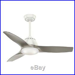 44 Casablanca 3-Blade Contemporary Ceiling Fan with LED Light Kit, Fresh White