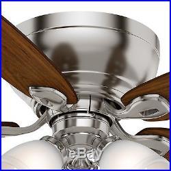 44 Casablanca Brushed Nickel Ceiling Fan Cased White Glass Light Kit