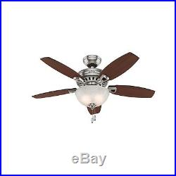 44 Hunter Brushed Nickel Ceiling Fan with Swirled Marble Light Kit