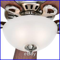 44 Hunter Ceiling Fan in Brushed Nickel with Cased White Glass Light Kit