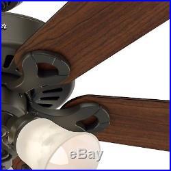 44 Hunter Fan New Bronze Ceiling Fan with Swirled Marble Light Kit, 5 Blade