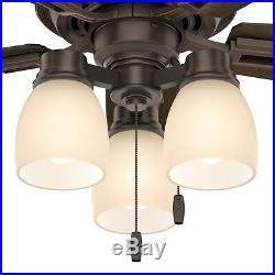 44 Hunter LED Ceiling Fan in Onyx Bengal Bronze with an Amber Glass Light Kit