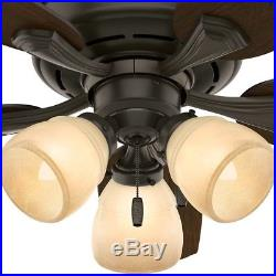 44 Hunter New Bronze Ceiling Fan with a Tea Stain Glass Light Kit