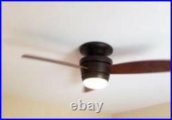 44 Integrated LED Indoor Flush Mount Ceiling Fan With Light Kit REmote Bronze