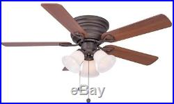 44 Oiled Rubbed Bronze Indoor Ceiling Fan With Light Kit Flush Mount New
