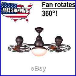 44-in Bronze Indoor/Outdoor Ceiling Fan With Light Kit 6 BLADE Downrod Mount 360°