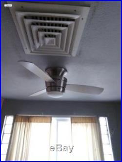 44-in Brush Nickel Flush Mount Indoor Ceiling Fan with LED Light Kit