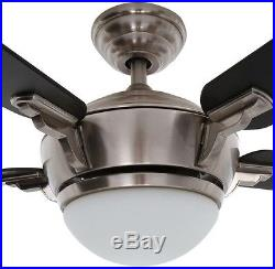 44 in. Brushed Nickel Indoor Ceiling Fan Reversible Blade Light Kit Remote Small