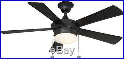 44 in. Indoor 5-Blade Ceiling Fan with Light Kit Downrod Reversible Motor Black