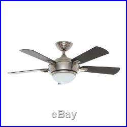 44 in. LED Ceiling Fan Indoor Brushed Nickel with Light Kit and Remote Control