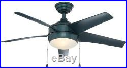 44 in. Smart Ceiling Fan with LED Light Kit and WINK Hub Remote Control, Blue
