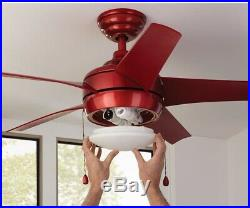 44 in. Smart Ceiling Fan with LED Light Kit and WINK Hub Remote Control, Red
