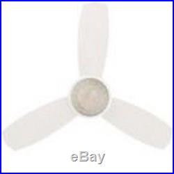 44in Indoor White Ceiling Fan Light Kit Remote Control 3 Speed Small Room Mount