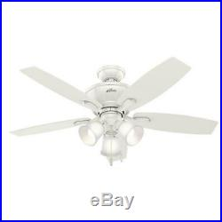 48 Fresh White Finish LED Indoor/Outdoor Ceiling Fan with Light Kit