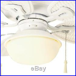 48 in. Ceiling Fan Matte White Indoor/Outdoor with Light Kit and 5 Plastic Blades
