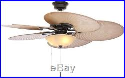 48 in. Indoor Outdoor Tropical Ceiling Fan Palm Blades Light Kit Natural Iron
