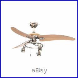 48 in. Modern Ceiling Fan Beech Blades Brushed Nickel Light Kit Contemporary