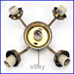 5 Light Ceiling Fan Kit Antique Brass 4 Center Globe Fitter 236 L15