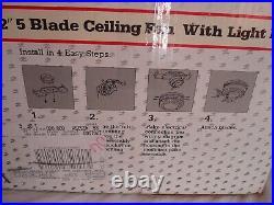 52 5 Blade Ceiling Fan with Light Kit-Brass Finish and Oak/Walnut Fans New