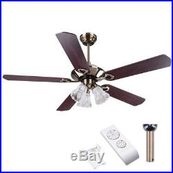 52 5 Blades Ceiling Fan 3 Light 3 Speed Kit Antique Reversible Remote Control