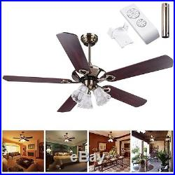52' 5 Blades Ceiling Fan with Light Kit Antique Bronze Reversible Remote Control