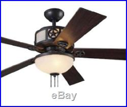 52 Black Downrod Mount Indoor Ceiling Fan with Light Kit Reversible Blades
