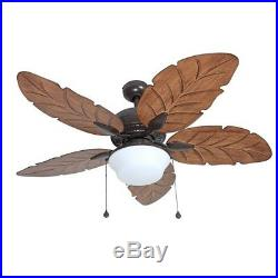52 Ceiling Fan & Light Kit Indoor/Outdoor Downrod Bronze Palm Tropical Blade