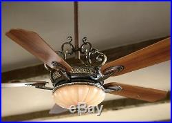 52 Ceiling Fan Light Kit Remote Flush Mount Indoor Decor 5 Blades Walnut Finish