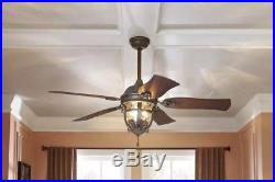 52 Ceiling Fan with Light Kit Aged Iron Outdoor Indoor Downrod or Flush Mount