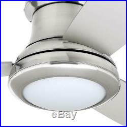 52 Ceiling Fan with Light Kit and Remote Brushed Nickel Flush Mount 3-Blade LED