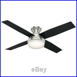 52 Contemporary Hunter Ceiling Fan with LED Light Kit and Remote Control