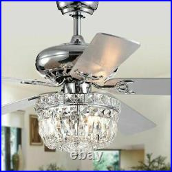 52 Crystal 5 Blade Ceiling Fan with Remote Control and Light Kit Included